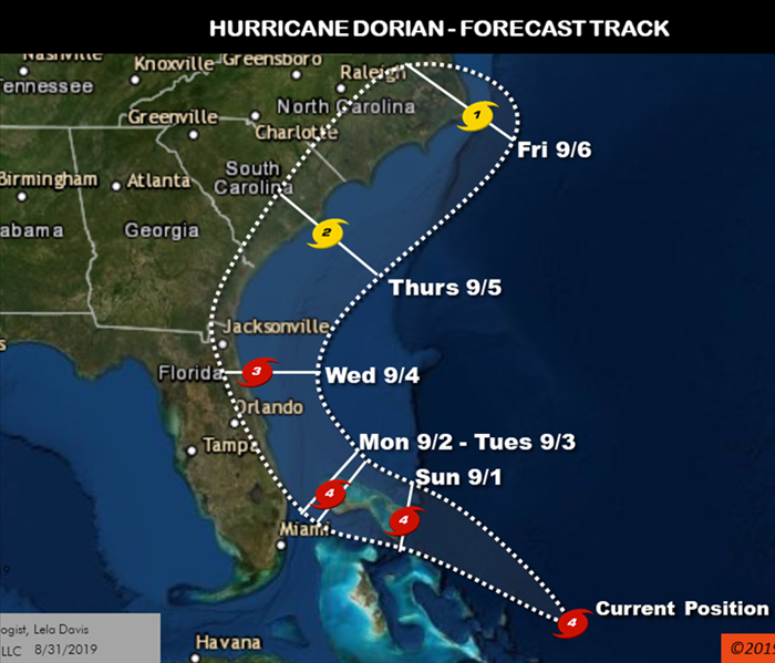 Image is a map showing the forecasted path of Hurricane Dorian along the southeast coast of the U.S.