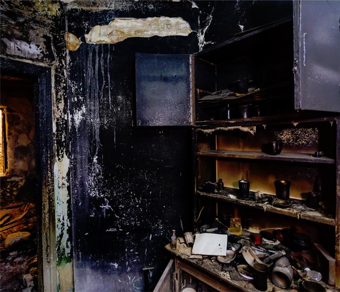 fire damaged kitchen in a house