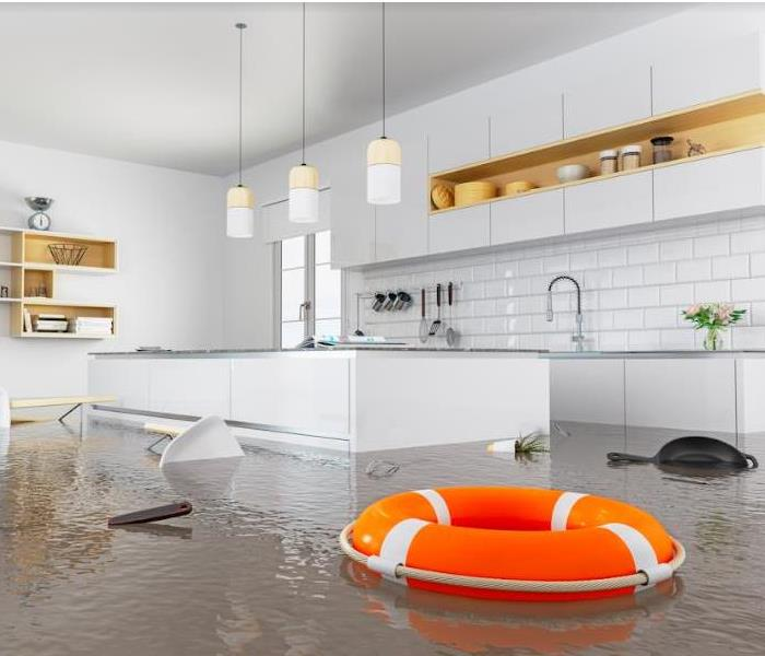 lifebuoy floating in kitchen floodwaters