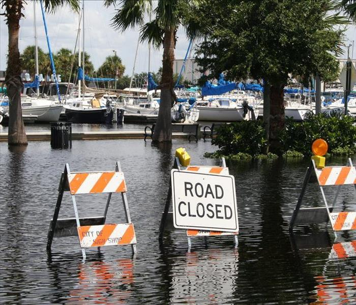 Flooding Sign, Boats at a Dock